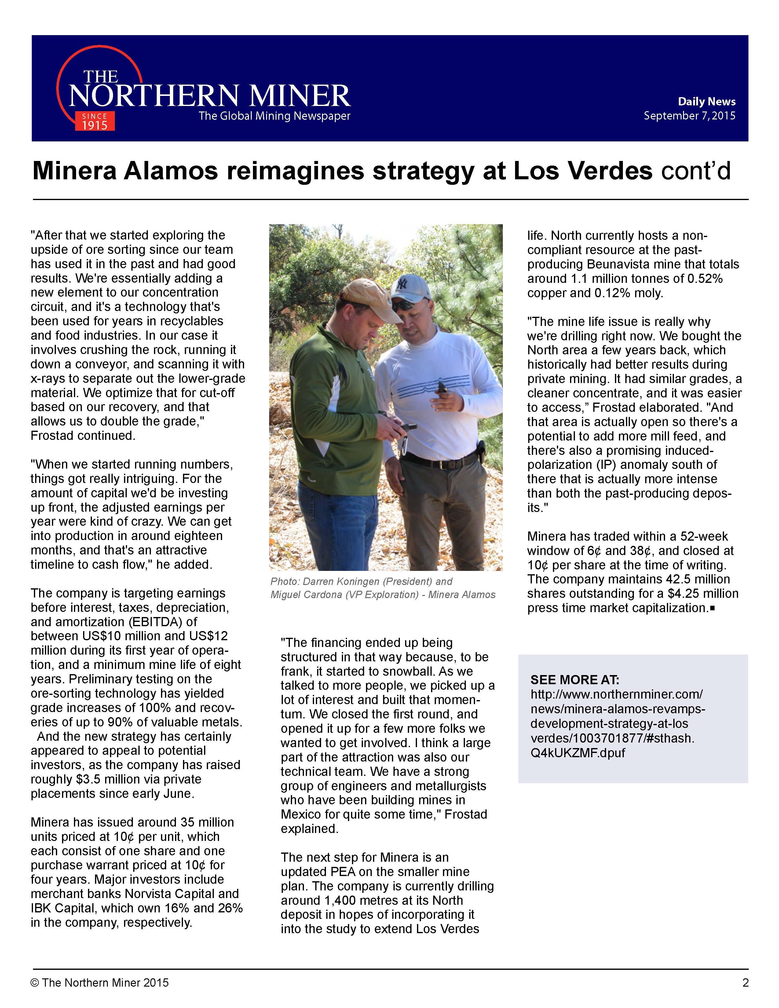 Hudescommunications Com: Minera Alamos Reimagines Strategy At Los Verdes