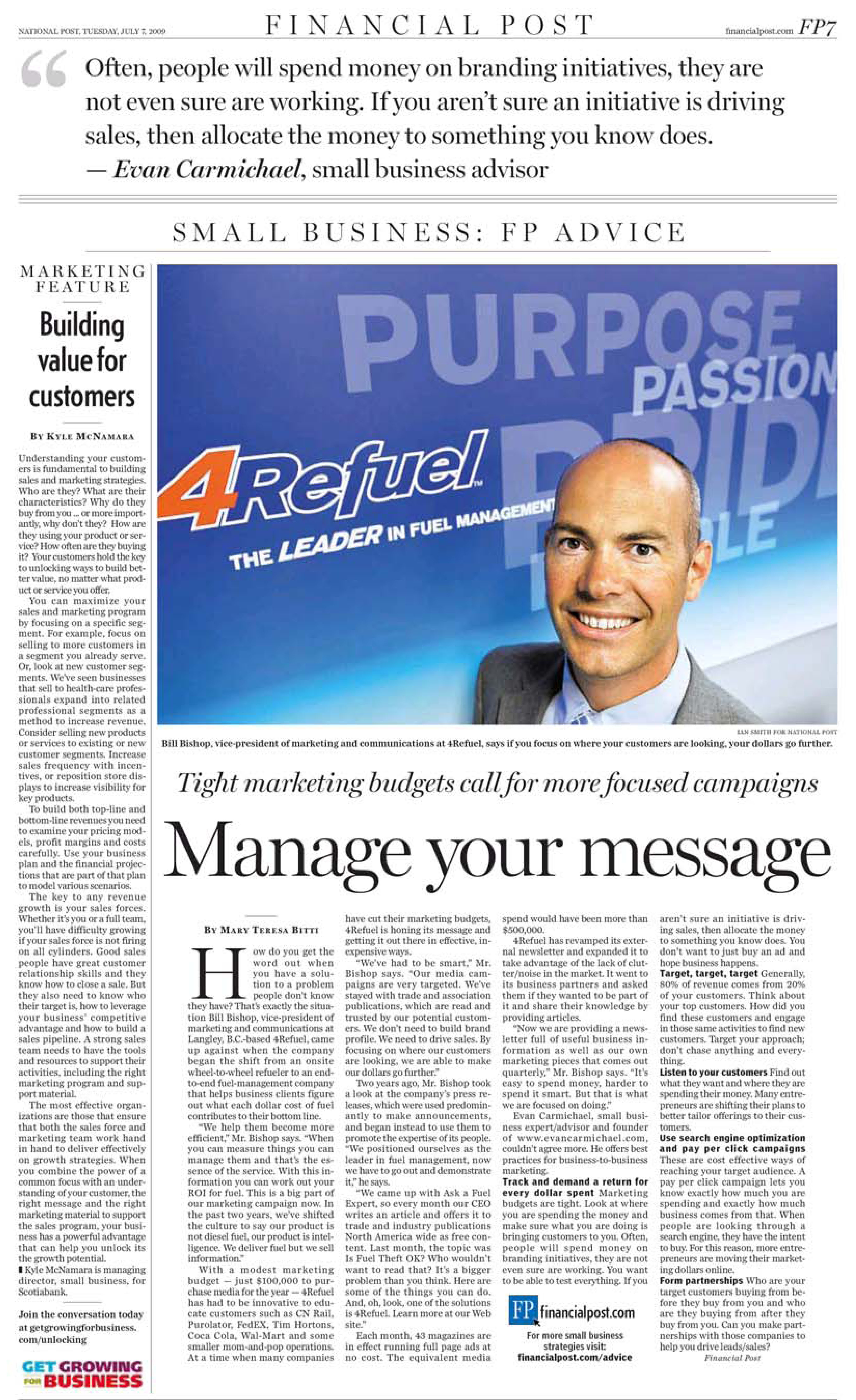 Hudescommunications Com: 4REFUEL Featured In THE NATIONAL POST