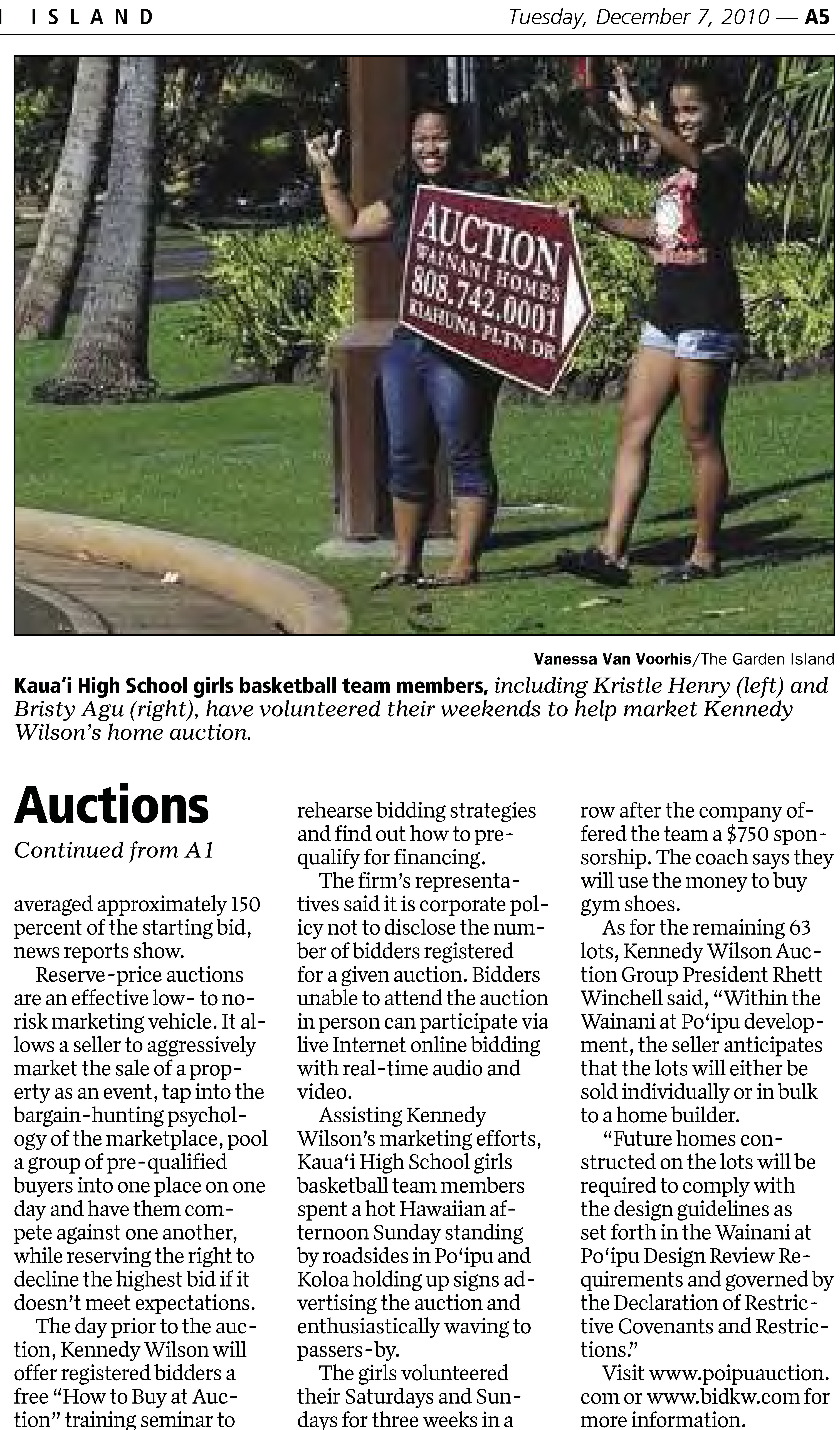 Kennedy Wilson Auction Group Featured In The Garden Island