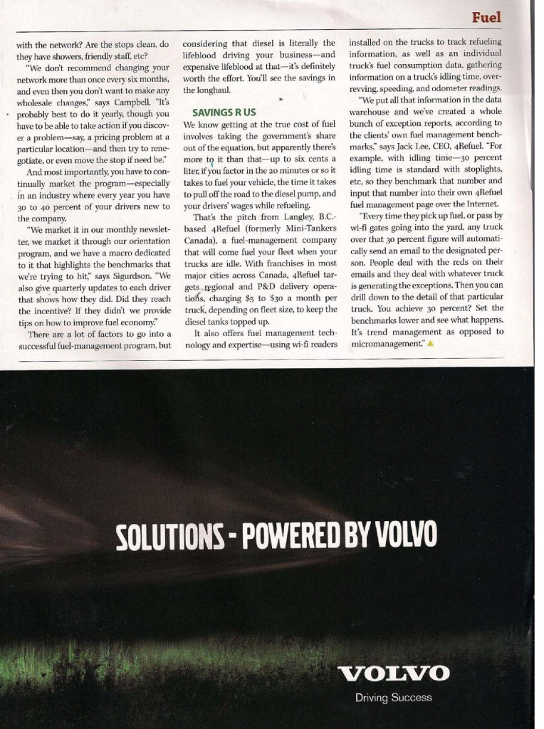Hudescommunications Com: 4Refuel Featured In TODAY'S TRUCKING MAGAZINE
