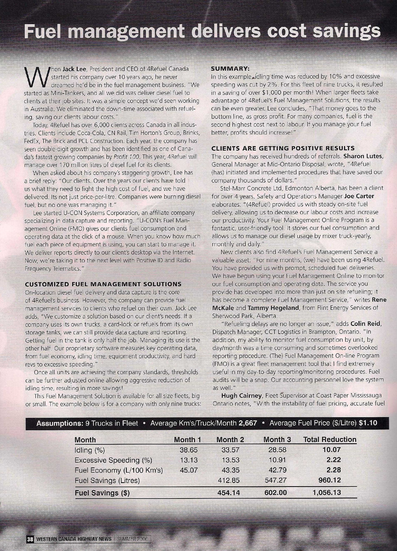 Hudescommunications Com: 4Refuel Featured In WESTERN CANADA HIGHWAY NEWS